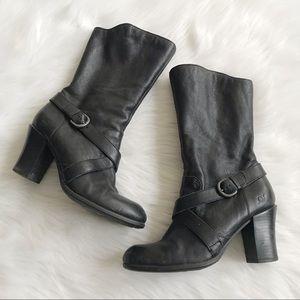 BORN Nuri Black Buckled Strap Heeled Boot SZ 9